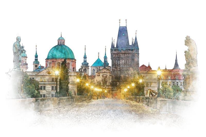 Praga - marco famoso Charles Bridge, arte finala da aquarela imagens de stock royalty free