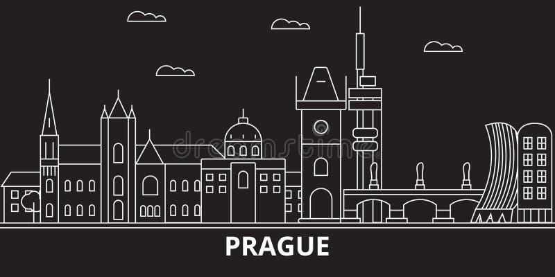 Praga miasta sylwetki linia horyzontu Republika Czech - Praga miasta wektorowy miasto, czeska liniowa architektura Praga miasta p ilustracji