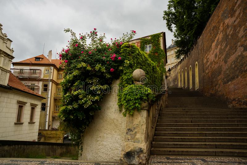 Praga miasto, republika czech: Pochodzić schodki miasto od Praga kasztelu zdjęcie royalty free