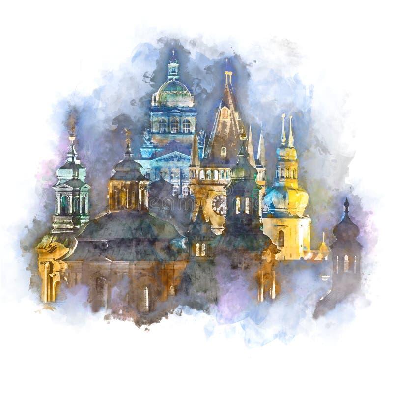 Praga, nigth na cidade, arte finala do estilo da aquarela fotos de stock