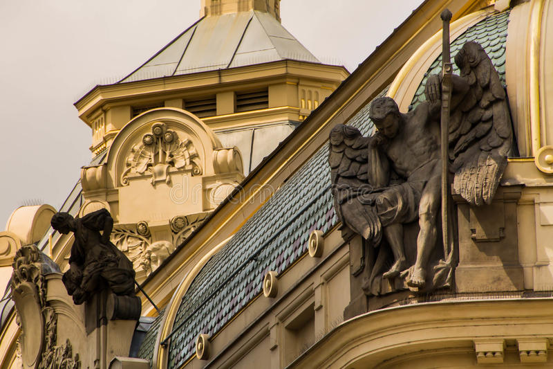 Praga, pałac, szczegół obraz royalty free