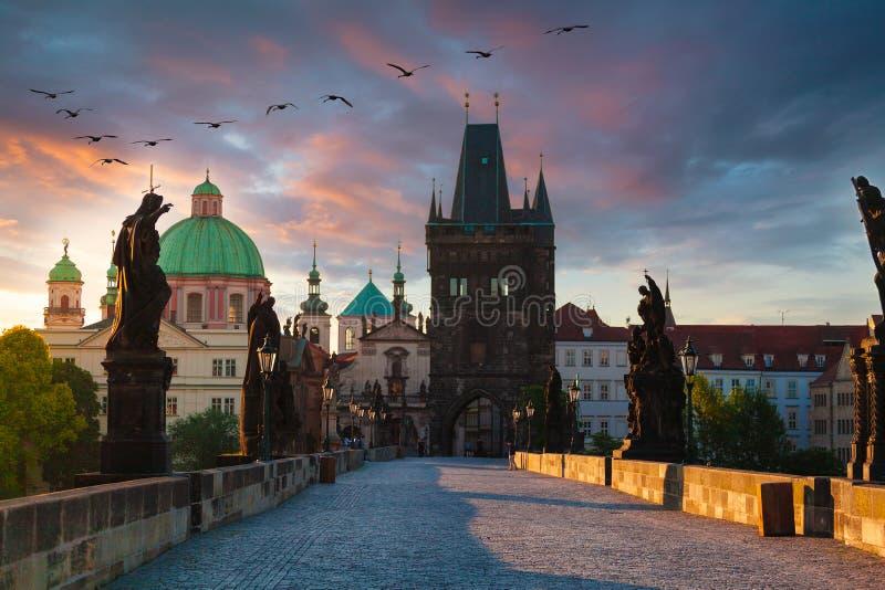 Praga, República Checa Charles Bridge com sua estatueta no nascer do sol foto de stock royalty free
