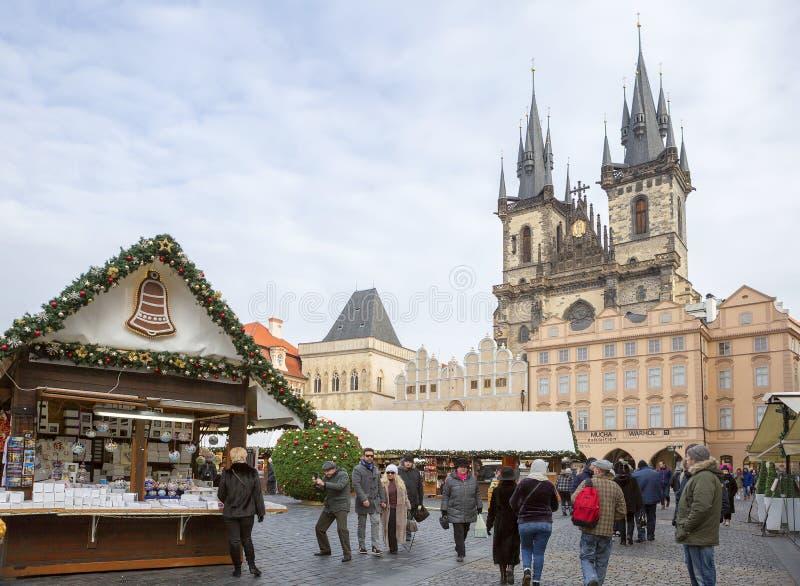 Praga, República Checa, cuadrado, mirada fija Mesto Virgen Mary Cathedral foto de archivo libre de regalías