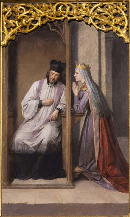 PRAGA, REPÚBLICA CHECA: La pintura del st John Nepomuk en la confesión de la reina en el Petra del svatého de Bazilika de la igl fotografía de archivo libre de regalías