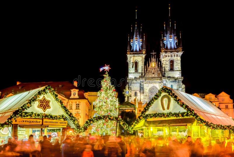 Praga, República Checa - mercado de la Navidad foto de archivo libre de regalías