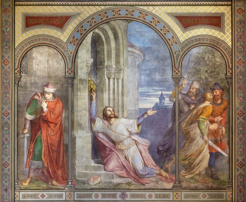 PRAGA, REPUBBLICA CECA, 2018: L'affresco dell'uccisione di re St Wenceslas nel kostel Svatého Cyrila Metodeje della chiesa fotografia stock