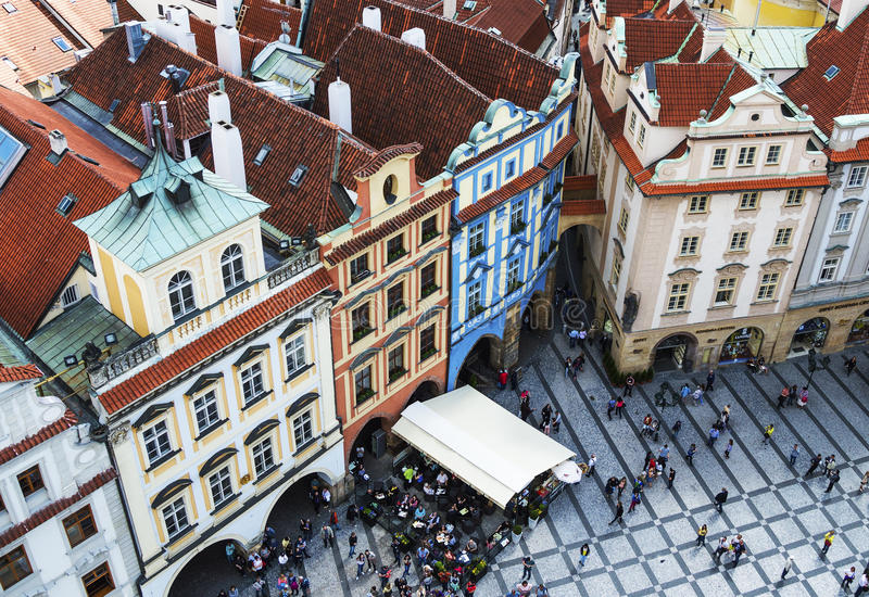 PRAGA, REPUBBLICA CECA - MAGGIO 2015: Quadrato di Praga Città Vecchia in repubblica Ceca fotografia stock