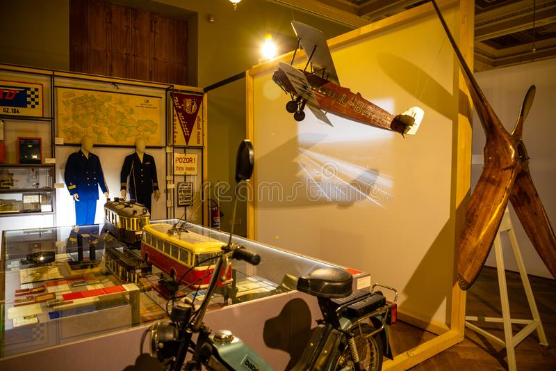 Praga, repubblica Ceca - 6 05 2019: Mostra del museo nazionale in costruzione recentemente rinnovata nel 2018 a Praga fotografia stock libera da diritti