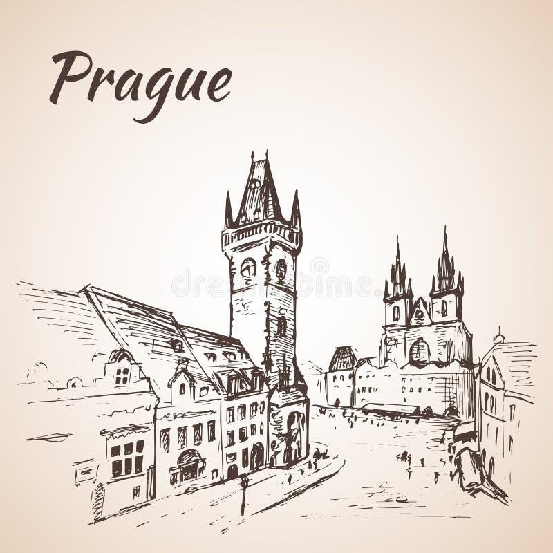 Praga, repubblica Ceca - vecchia piazza illustrazione vettoriale