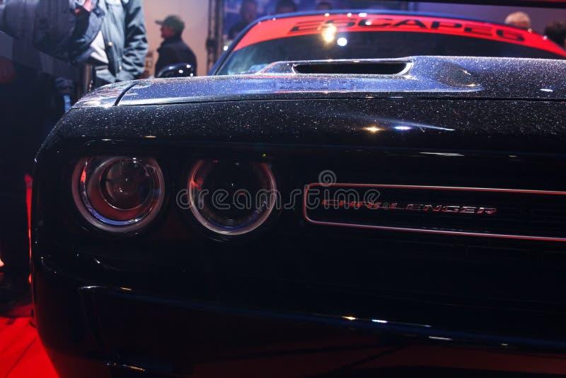 Praga, republika czech - Kwiecień 13th 2019: Czarny Dodge pretendent przy Autoshow PVA expo Praha Letnany 2019 zdjęcia royalty free
