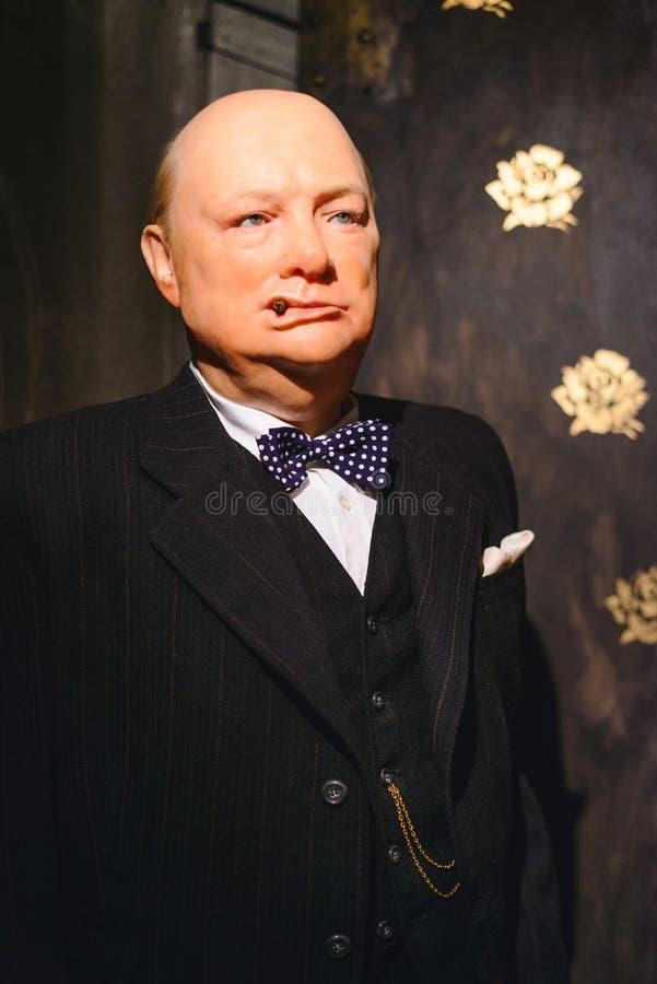 PRAGA, republika czech - MAJ 2017: Wosk statuy Sir Winston Leonard Churchill był Brytyjskim politykiem w wosku muzeum wewnątrz fotografia stock