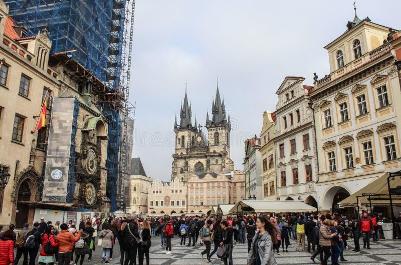 Praga; Republika Czech; Październik 18, 2017: Praga Stary Grodzki Sq obraz royalty free