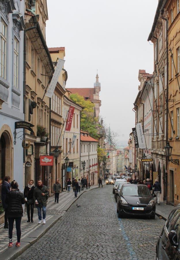Praga; Republika Czech; Październik 18, 2017; Widoku puszek Nerudo fotografia royalty free