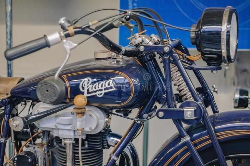 Praga, republika czech Techniczny muzeum, retro samochód 2017-09-12 zdjęcie stock