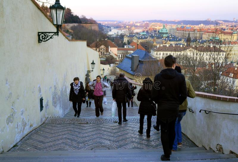 Praga roofs and stairways. Praga, Czech Republic in the sunset royalty free stock images