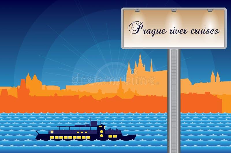 Praga rzeki rejsy ilustracja wektor