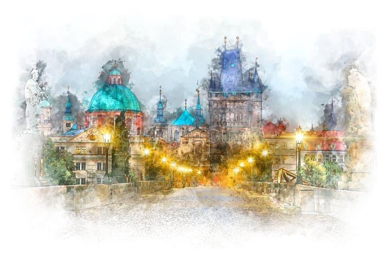 Praga - sławny punktu zwrotnego Charles most z iluminacją, akwareli grafika ilustracja wektor