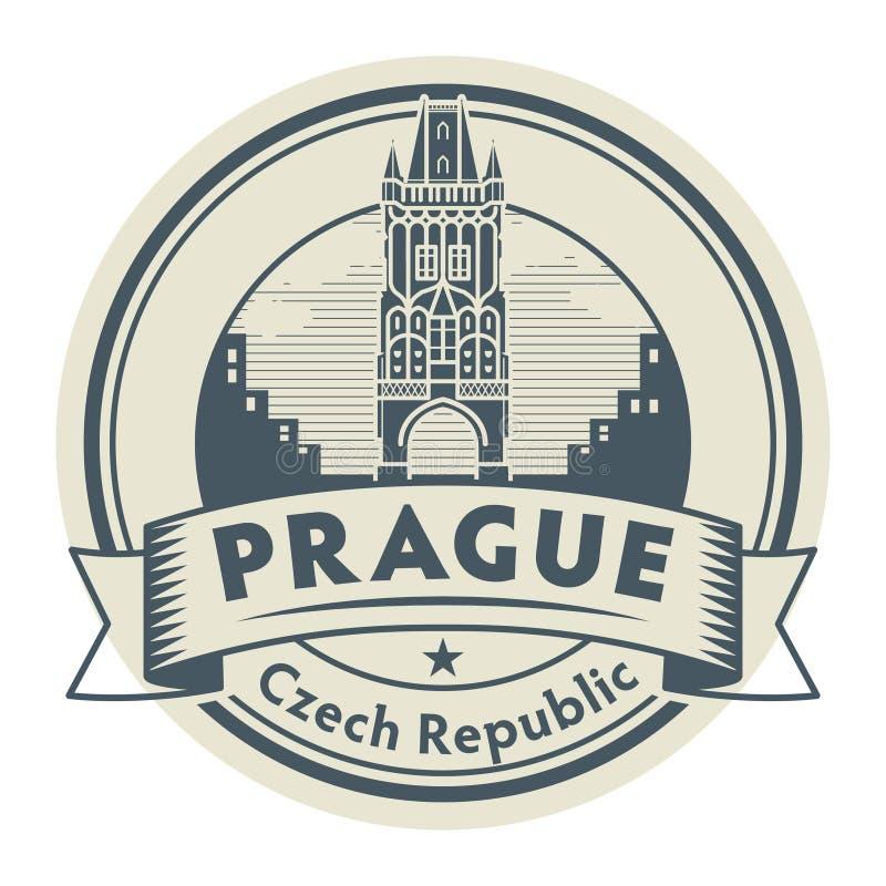 Praga, sello de la República Checa libre illustration