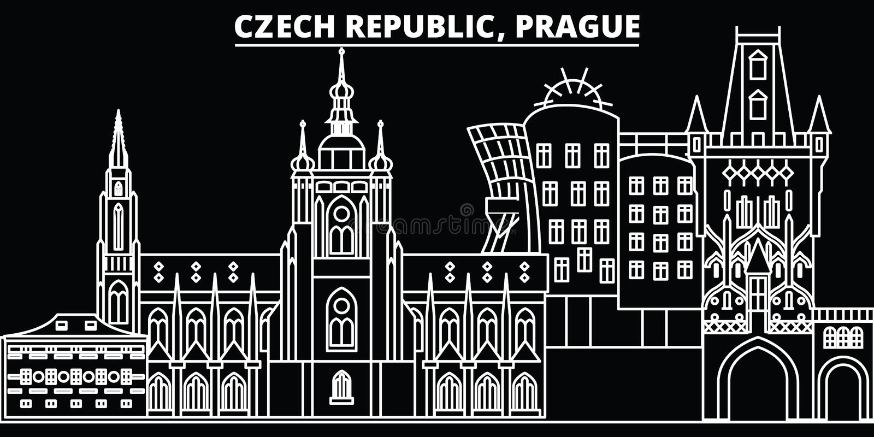 Praga sylwetki linia horyzontu Republika Czech - Praga wektorowy miasto, czeska liniowa architektura, budynki Praga podróż ilustracji