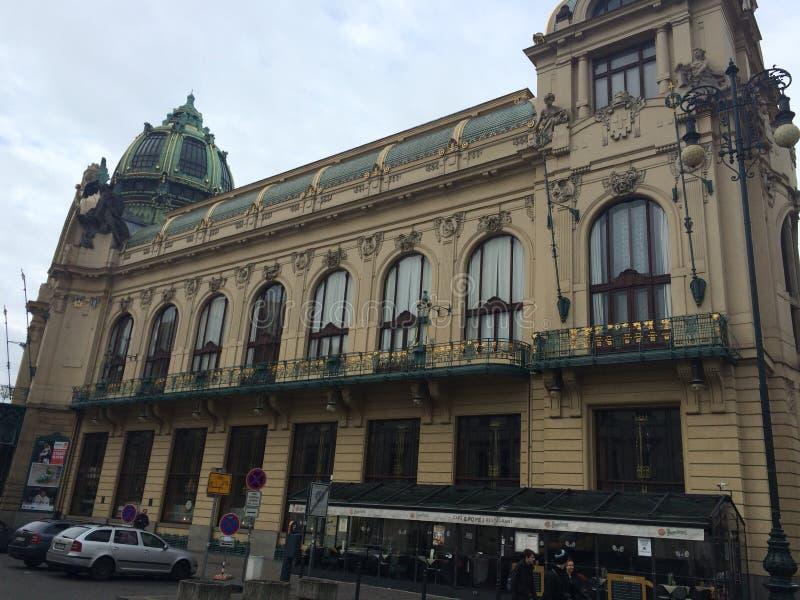 Praga teatru uliczny ranek stary obraz royalty free