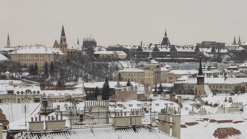 Praga telha a opinião do inverno fotos de stock