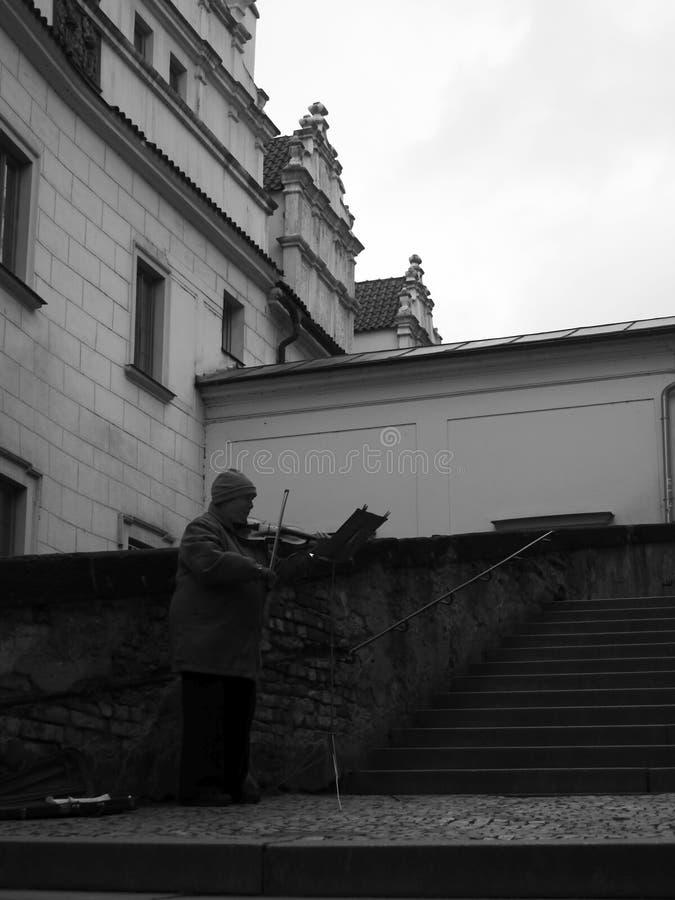 Praga Violonist obraz stock