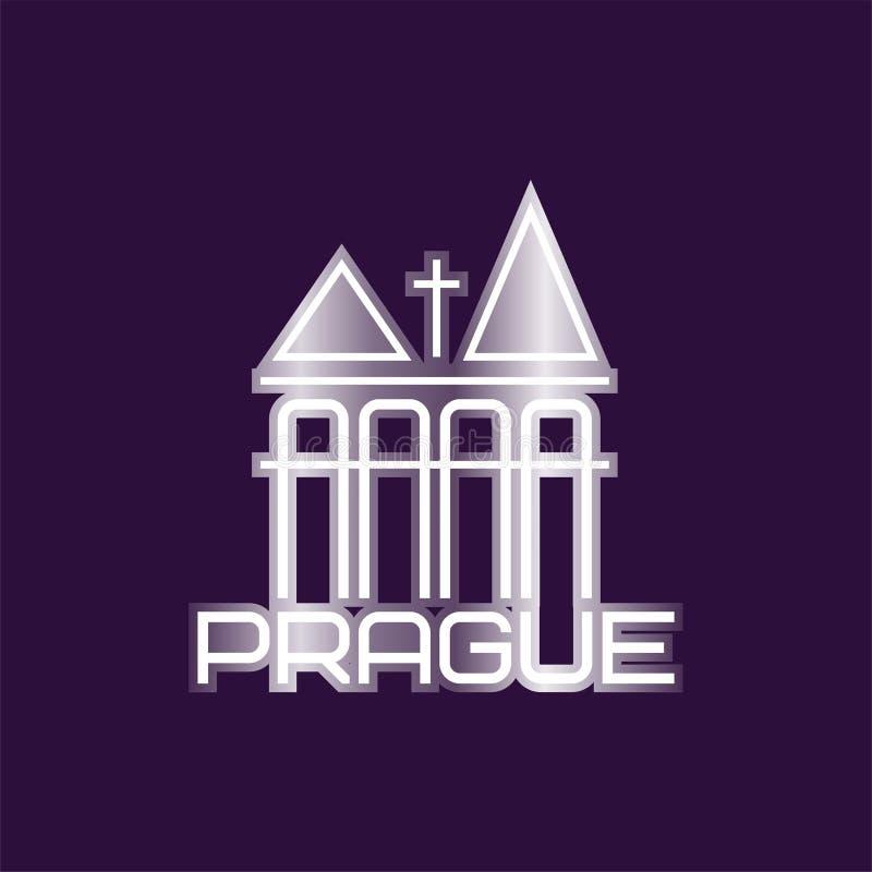 Praga wektorowy symbol z kościelnym budynkiem lub góruje Oryginalny loga szablon Stolica republika czech grafika royalty ilustracja