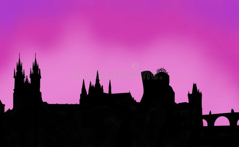 Praga zmierzchu pamięć royalty ilustracja