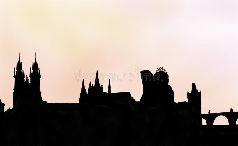 Praga zmierzchu pamięć ilustracja wektor
