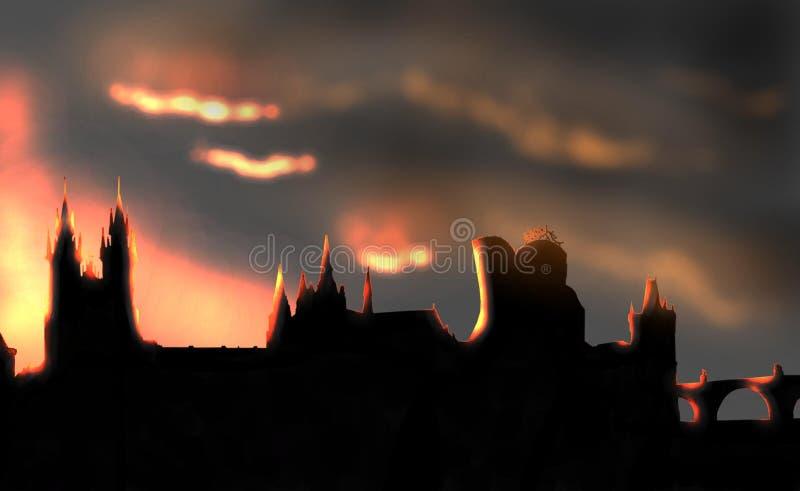 Praga zmierzchu pamięć ilustracji