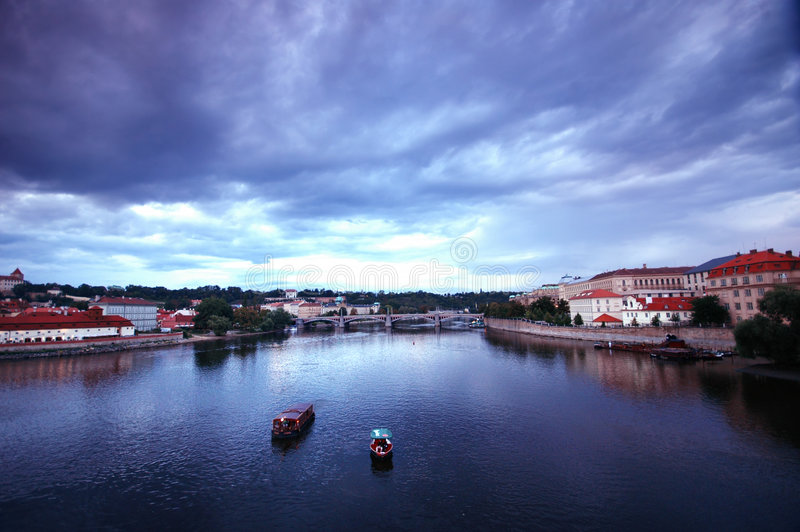 Prage valtava river on rainy day stock image