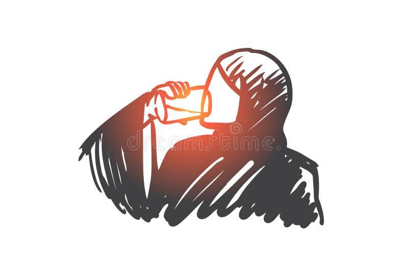 Pragnienie, świeży, napój arabski, muzułmański, pojęcie Ręka rysujący odosobniony wektor ilustracja wektor
