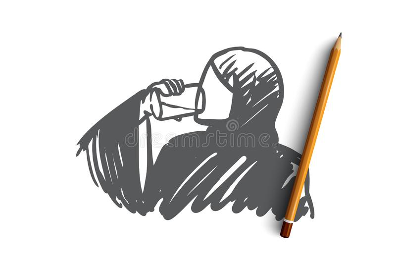 Pragnienie, świeży, napój arabski, muzułmański, pojęcie Ręka rysujący odosobniony wektor royalty ilustracja
