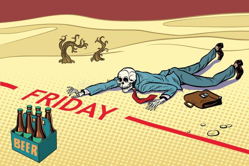 Pragnienie dla piwa Mężczyzna umierał przed Piątkiem ilustracji