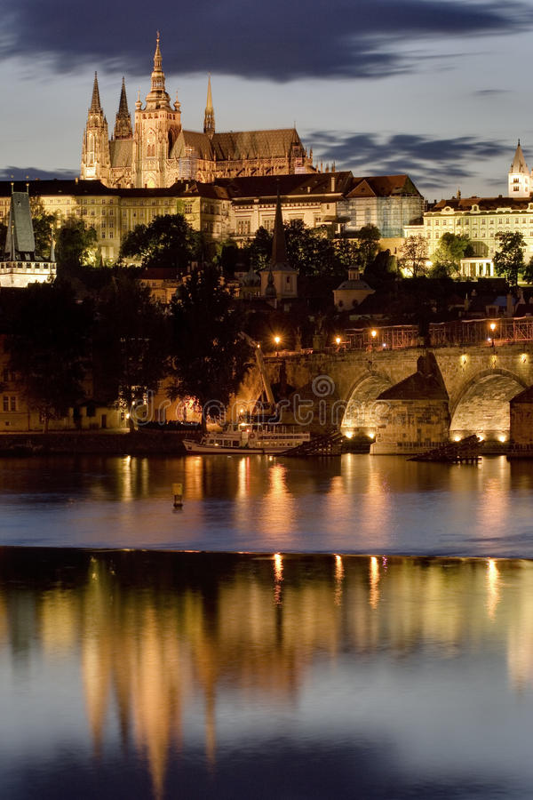 Prague. Castle at night. Europe stock photo
