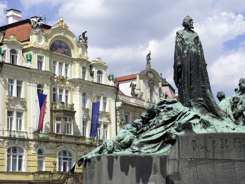 Prague. A statue and some buildings from Prague royalty free stock photo