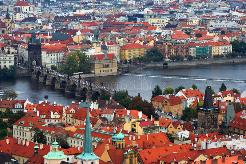 Prague. And it's red roofs, Czech Republic stock image