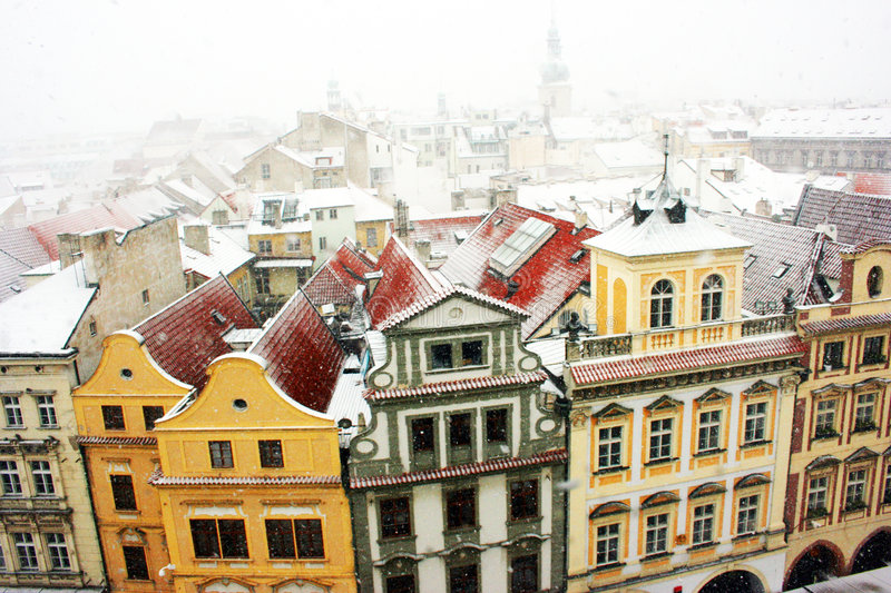 Prague. Rooftops of Prague, Czech Republic. Old townscape seen from Castle royalty free stock photography
