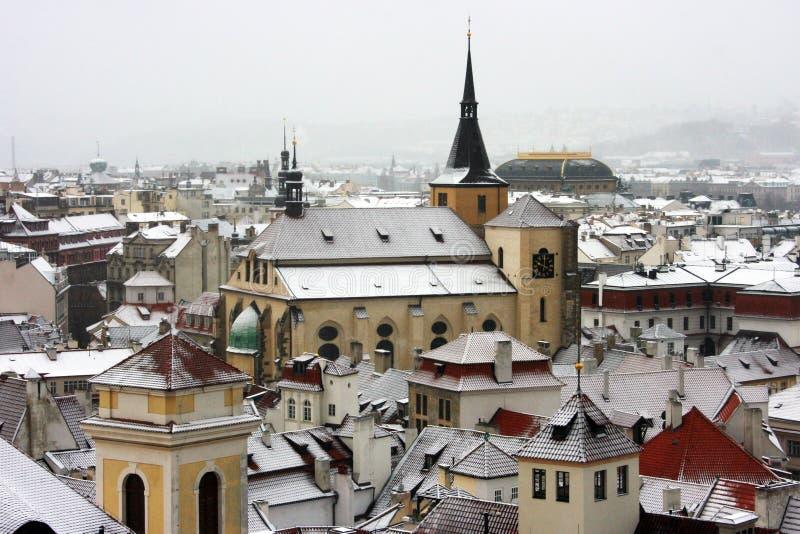 Prague. Old Town Towers under snow, Prague, Czech Republic stock image