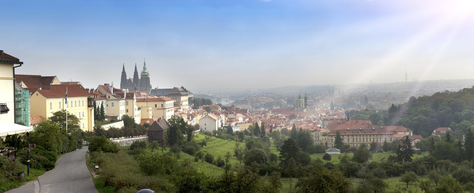 Prague, aerial view of Old Town roofs in the old city of Prague Stare Mesto stock images