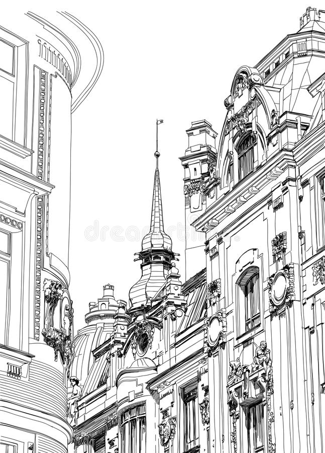 Prague - Architectural Drawing Royalty Free Stock Image