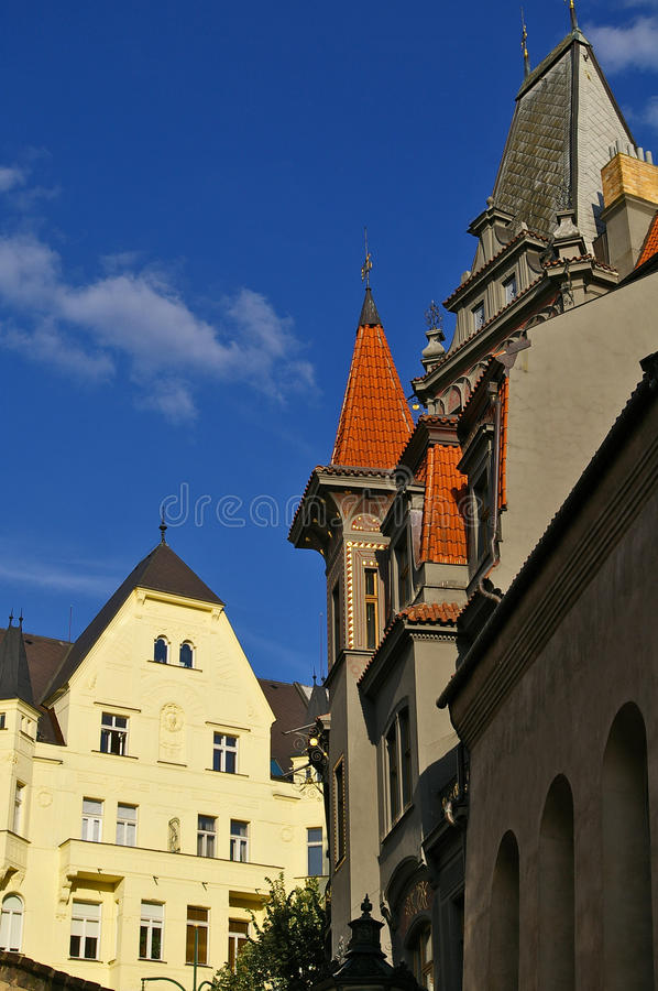 Prague Architecture in Czech Republic. Typical victorian architecture of buildings in Prague, Czech Republic royalty free stock image