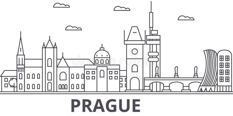 Prague arkitekturlinje horisontillustration Linjär vektorcityscape med berömda gränsmärken, stadssikt, designsymboler stock illustrationer