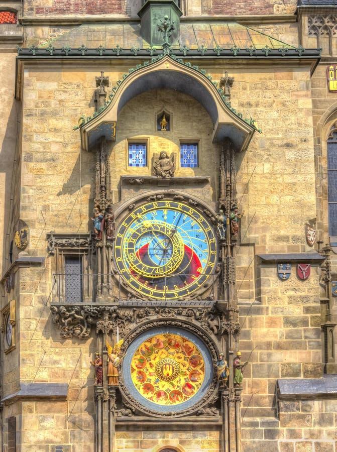 Prague astronomical clock on City Hall tower, Czech Republic stock photography