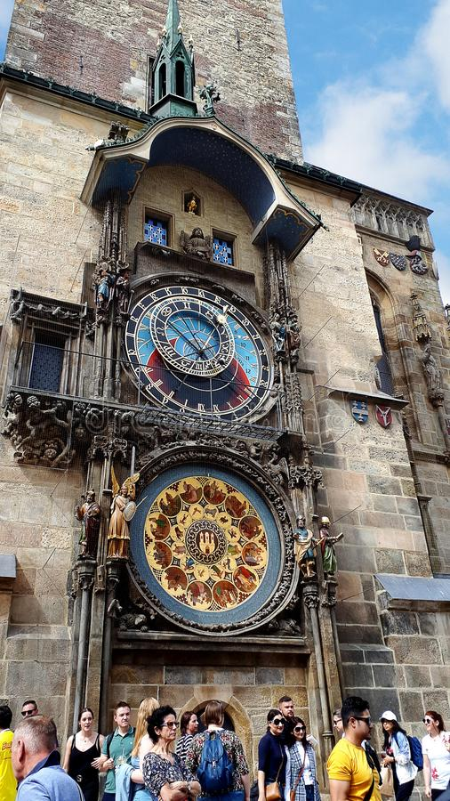 The Prague Astronomical Clock is a medieval astronomical clock.The Clock is on the southern wall of Old Town City Hall. The Prague Astronomical Clock. Prague is royalty free stock image