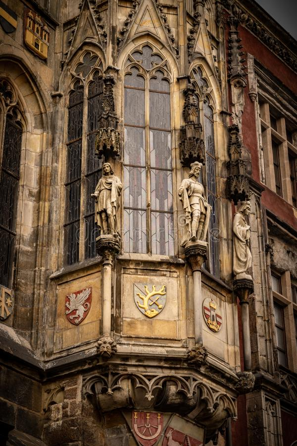 Detail of the side of the tower of the Prague Astronomical Clock, r royalty free stock photography