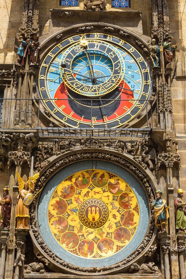 Prague Astronomical Clock on Old Town Hall in Czech republic stock photography