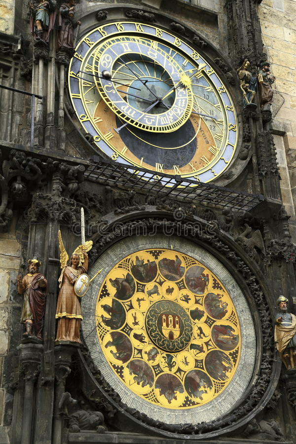 Prague astronomical clock Prague orloj, Old Town Hall Tower. Czech Republic royalty free stock image
