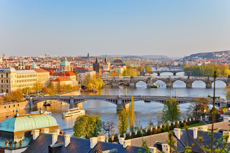 Prague au coucher du soleil photo stock