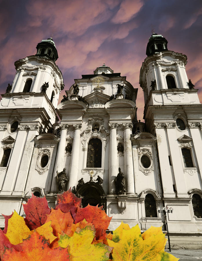 Prague autumn concept stock image